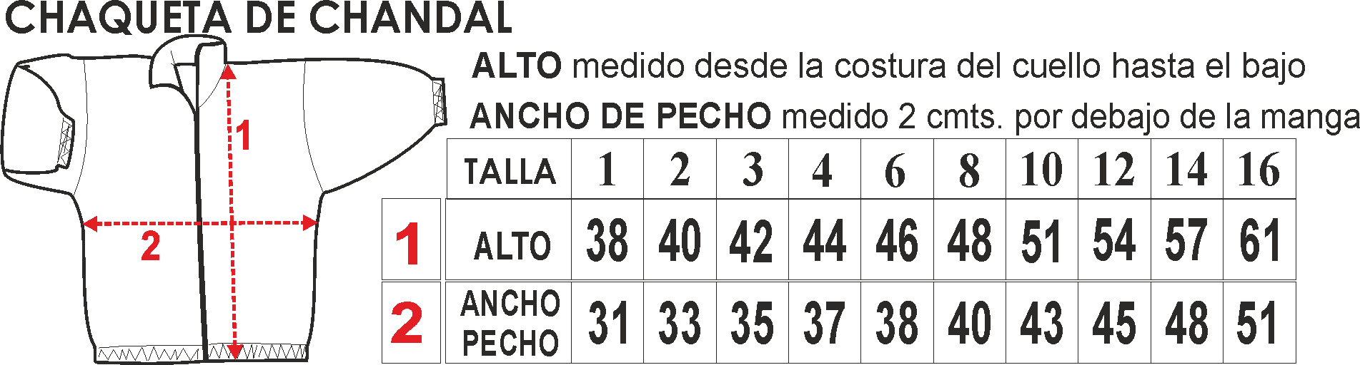 Tabla de tallas chaqueta